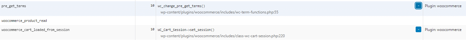 an example of query monitor showing some woocommerce hooks