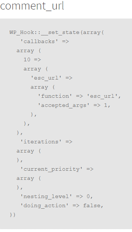 the codes output of the functions linked to the comment_url hook