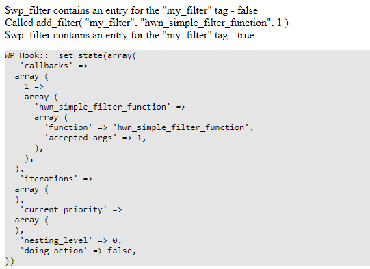 the output of the wp_filter sample code