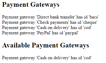 the output from the code that lists the payment gateways